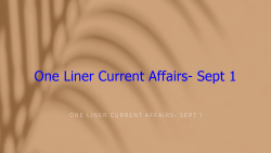 ONE LINER CURRENT AFFAIRS- SEPT 1